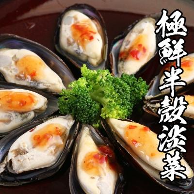 海鮮王 極鮮半殼淡菜 *1盒組 800g±10%/盒( 約35顆/盒 ) (任選)