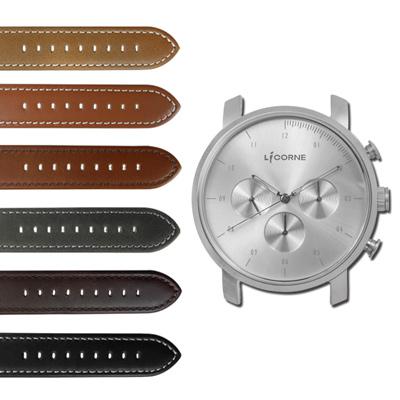 LICORNE 力抗 MYO 首創自由搭配藍寶石水晶玻璃真皮手錶-銀色/45mm