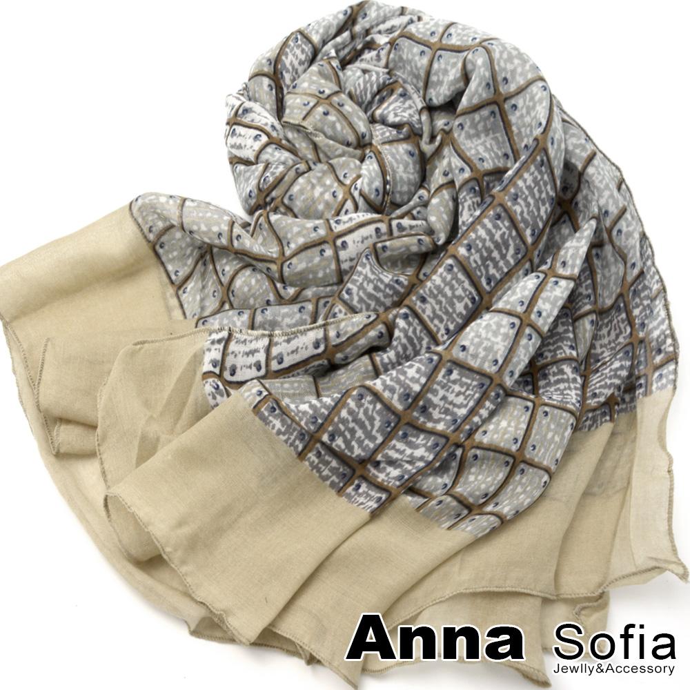 【2件450】AnnaSofia 方格樊藤 拷克邊韓國棉圍巾披肩(米駝邊)