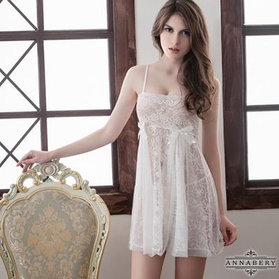 大尺碼-透視蕾絲二件式睡衣-純白-L-2L-Annabery