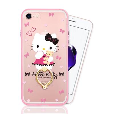 iPhone 7 正版授權 Hello Kitty凱蒂貓指環扣支架手機殼-甜蜜款
