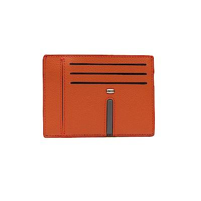 FEDON 1919 Web 時尚雙色小牛皮薄型8卡夾-橘深灰