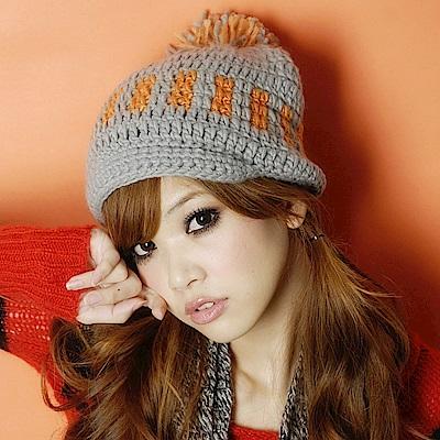 Aimee Toff 休閒保暖毛球造型針織毛帽(灰)