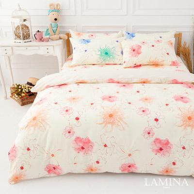 LAMINA  花想曲-粉  雙人三件式純棉床包組