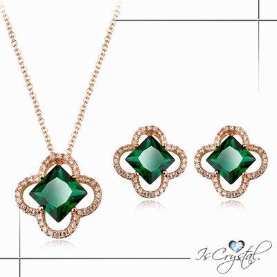 伊飾晶漾iSCrystal 綠晶四葉 典藏鋯石耳環項鍊組