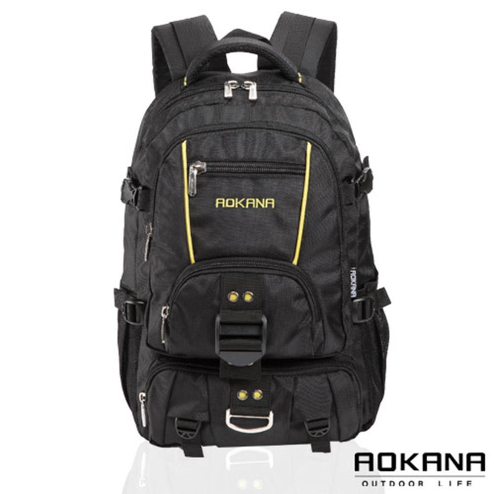 AOKANA奧卡納 台灣釦具 輕量防潑水護脊紓壓機能後背包(黃/黑)68-074