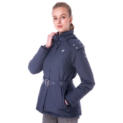 【hilltop山頂鳥】女款WS抗風防小雨保暖蓄熱羽絨短大衣F22FV4深灰藍