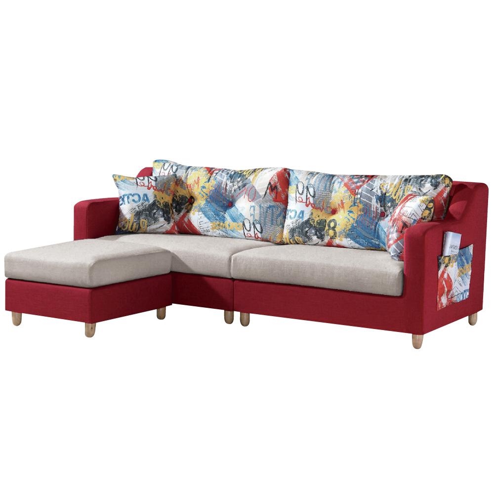 L型沙發 露易 亞麻布獨立筒沙發 四人+凳  品家居
