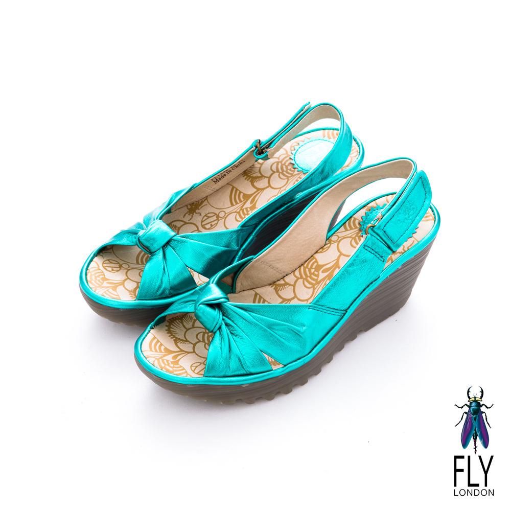 Fly London(女)★ 仙度芮拉 扭結魚口後空楔型涼鞋 - 星光藍