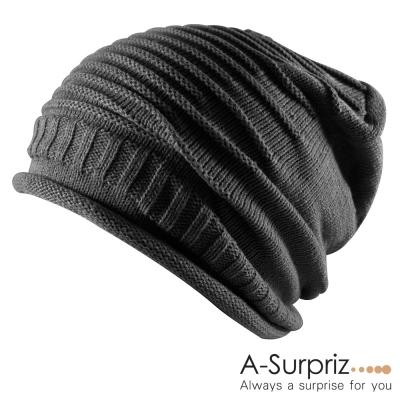 A-Surpriz  雅痞簡約時尚風針織帽(不敗黑)