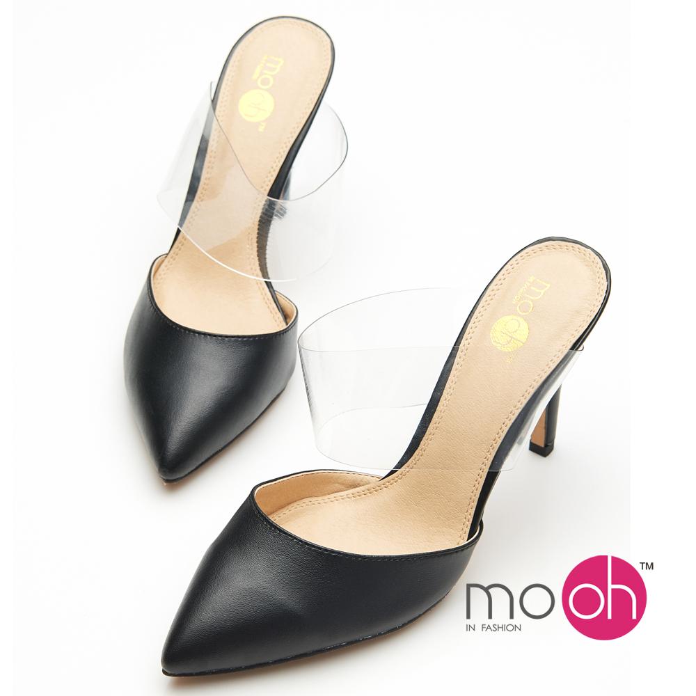 mo.oh 尖頭透明一字帶氣質涼鞋高跟鞋-黑