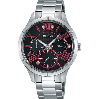 ALBA 限定羅馬戀人晶鑽女錶(AP6293X1)-黑x桃紅刻度/36mm