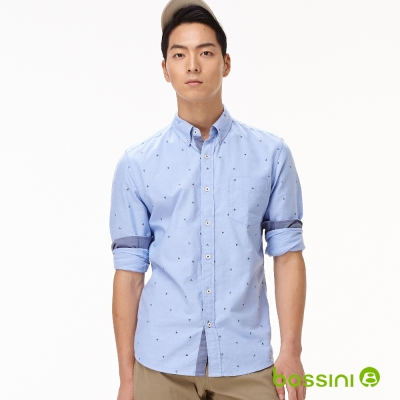 bossini男裝-牛津紡印花長袖襯衫02淡藍