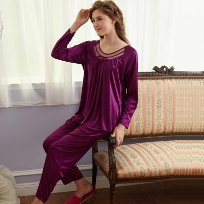 睡衣 彈性珍珠絲質 長袖兩件式睡衣【57203】葡萄紫-台灣製造 蕾妮塔塔