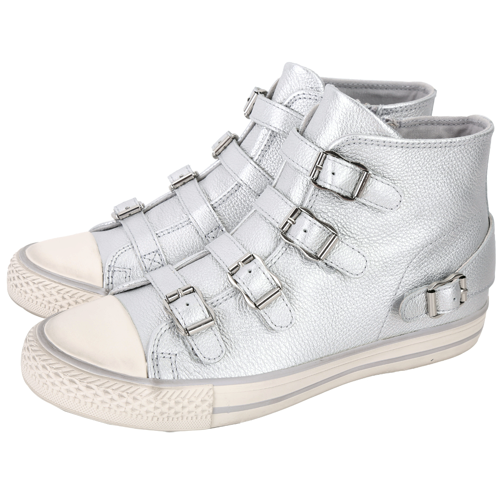 ASH Venus 荔紋納帕皮革釦帶高筒休閒鞋(銀色)