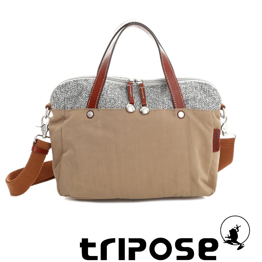 tripose 漫遊系列岩紋玩色兩用手提背包 駝色