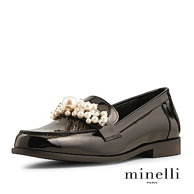 Minelli--西班牙製造 珍珠裝飾全真皮樂福低跟鞋-優雅黑