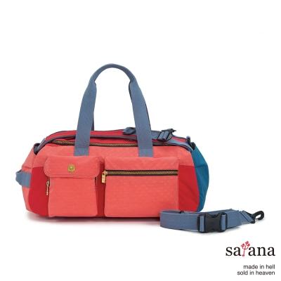 satana - 拼接機能後背包/旅行袋 - 紅藍混色