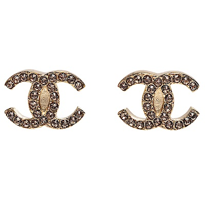 CHANEL 經典雙C Logo水鑽鑲嵌穿式耳環(金)