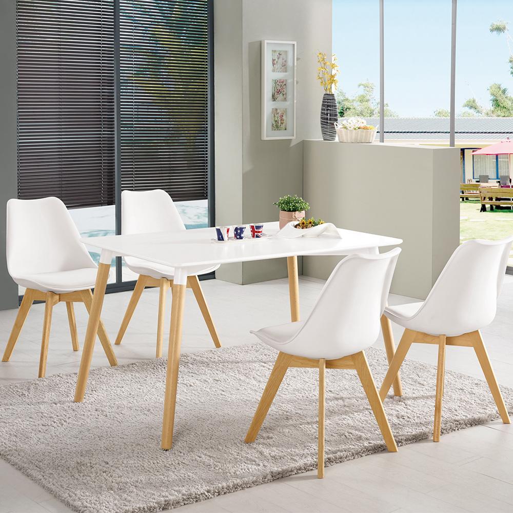 Boden-奧麗莎4尺簡約休閒餐桌椅組(一桌四椅)-120x80x74cm