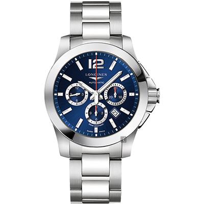 LONGINES浪琴 Conquest 征服者300米計時機械錶-藍/44mm