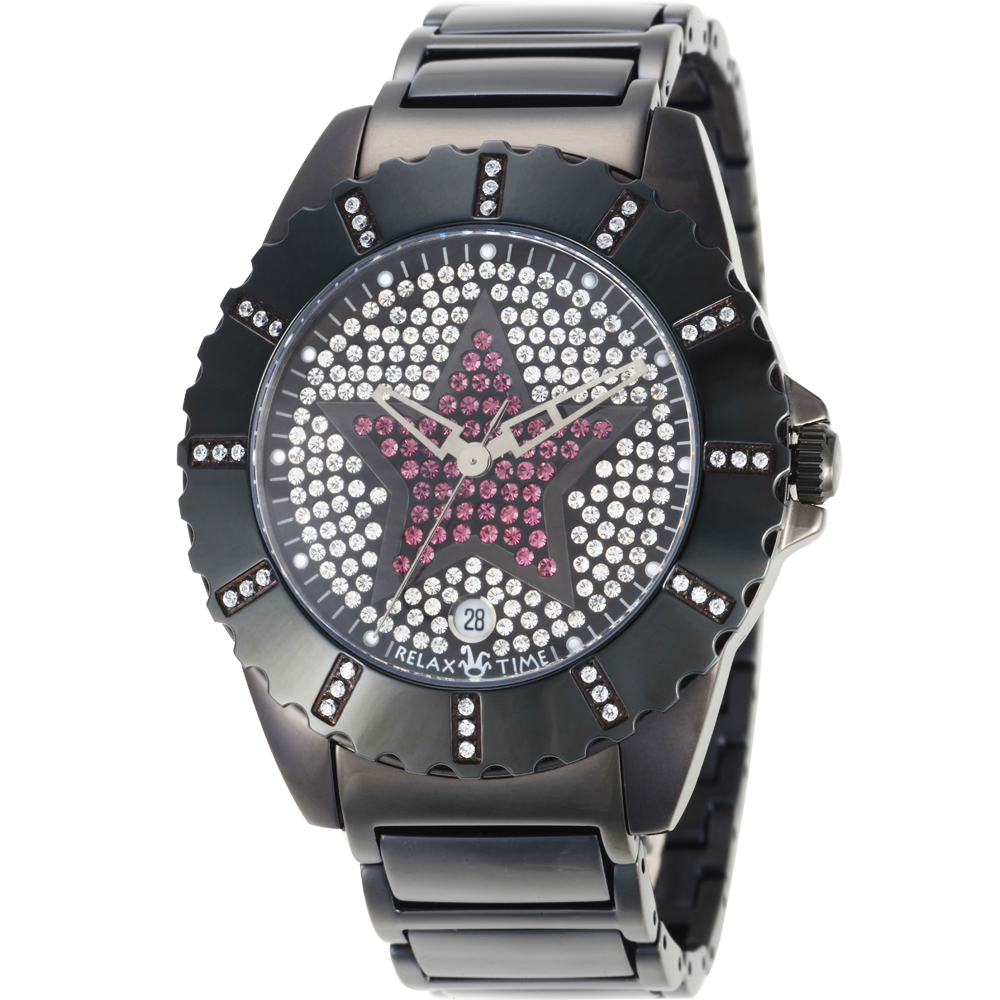 RELAX TIME閃耀晶鑽系列-IP黑x紫/38mm