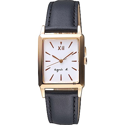 agnes b. 法國文青系列時尚手錶(BH8046X1)-白x玫塊金框x黑/25mm