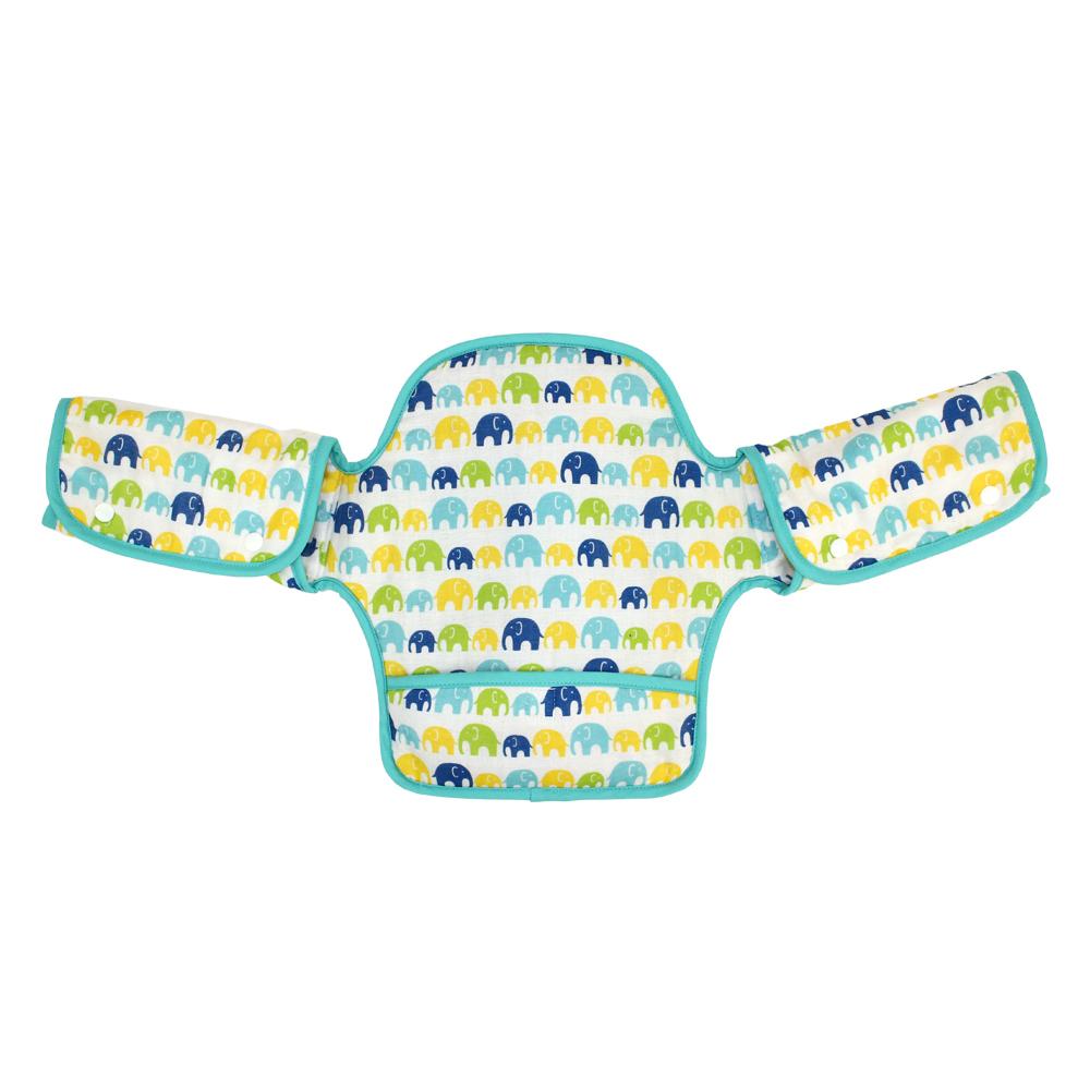 (清倉下殺)日本西村媽媽 Lucky (揹巾專用)展翅飛翔360度環繞式口水墊(粉綠大象)
