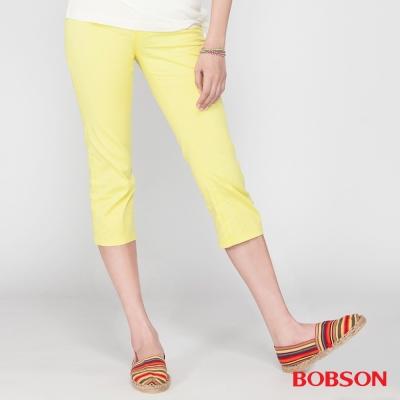 BOBSON 女款刺繡鑽飾七分褲(黃212-31)