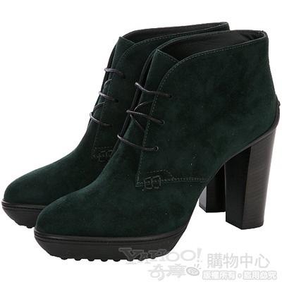 TOD'S 綠色麂皮綁帶設計粗跟踝靴