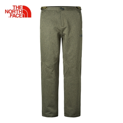 The North Face 北面男款橄欖綠防潑水內襯抓絨休閒長褲