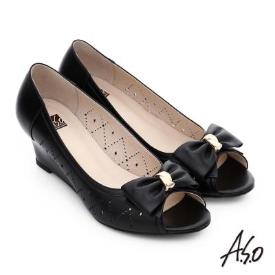 A.S.O 氣質名媛 全真皮沖孔蝴蝶結魚口楔型跟鞋 黑色