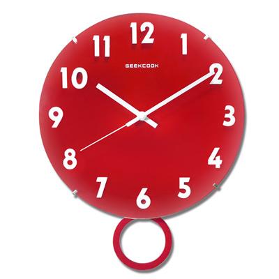 12吋北歐現代簡約居家清新風格弧度餐廳客廳臥室極靜音刻度搖擺掛鐘 - 紅白色/29.5cm