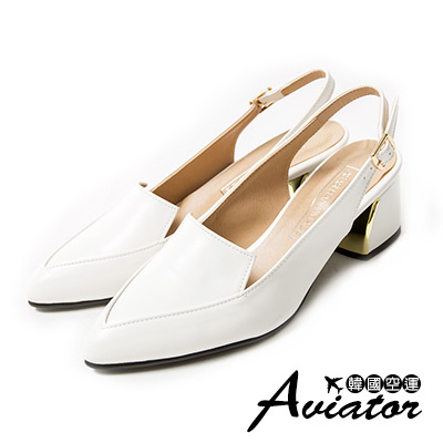 Aviator*韓國空運。正韓製氣質女伶顯瘦尖頭金扣包涼鞋-白
