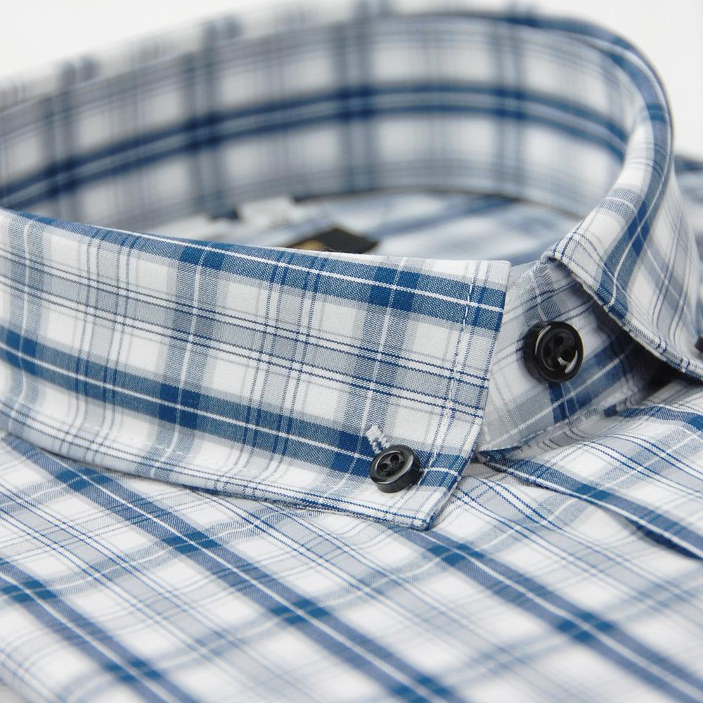 金‧安德森 白藍格紋黑釘扣純棉長袖襯衫