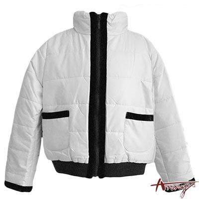 Anny粉嫩高領羅紋束口雙口袋鋪棉外套*0468白