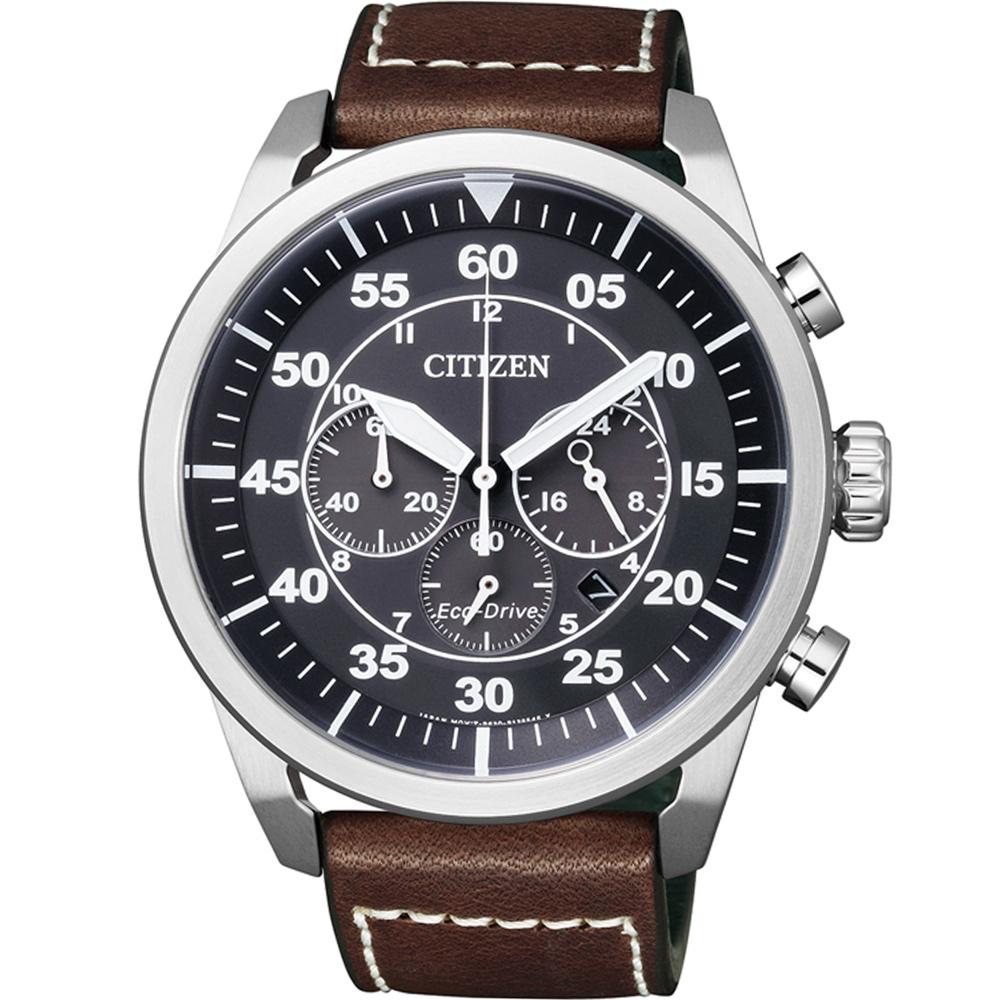CITIZEN 光動能飛行風格計時腕錶(CA4210-16E)-黑/45mm