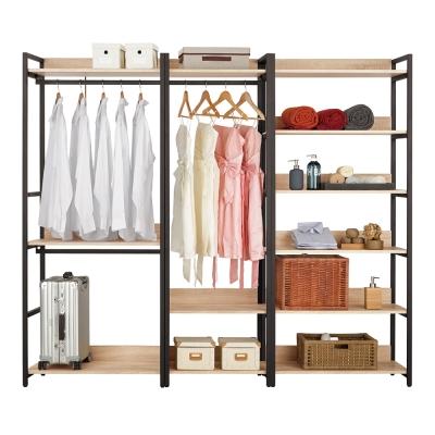 Boden-裴拉7.3尺開放式組合衣櫃(雙吊+單桿+多層收納)