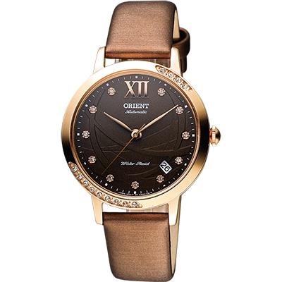 ORIENT 晶鑽機械腕錶-咖啡x玫瑰金/36mm
