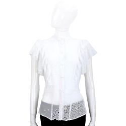 PHILOSOPHY 白色縷空織花拼接荷葉袖排釦上衣