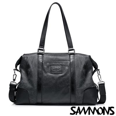 SAMMONS 真皮傑克森休閒旅行手提包 經典黑