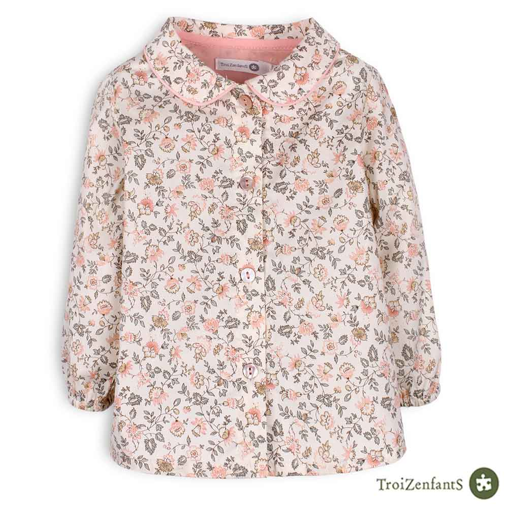 TroiZenfantS 法國精品 粉紅碎花襯衫
