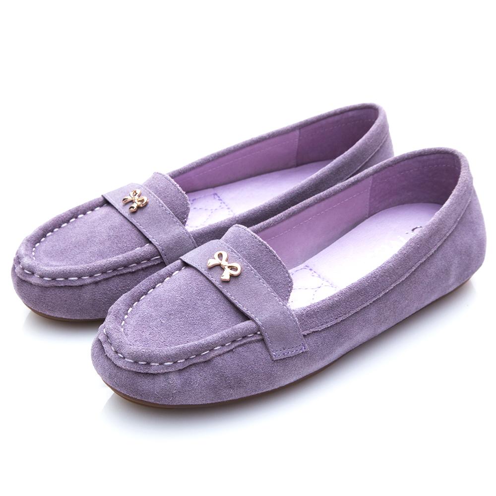 G.Ms. 牛麂皮小金蝴蝶結莫卡辛鞋-紫色