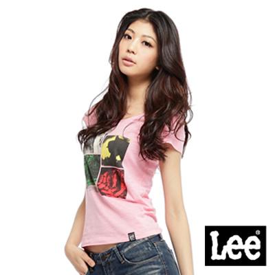【Lee】Modern Rider都市騎士 創意照片拼接圖案圓領短袖T恤-女款(粉紅)