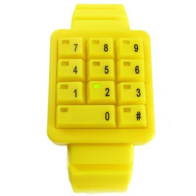 CLICK 創意爆破數字鍵盤個性腕錶-黃/40mm