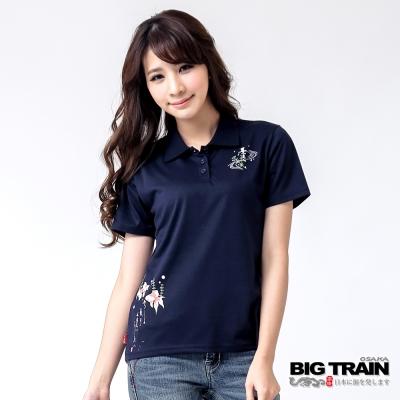 BIG TRAIN 戲水小金魚POLO衫-女-深藍