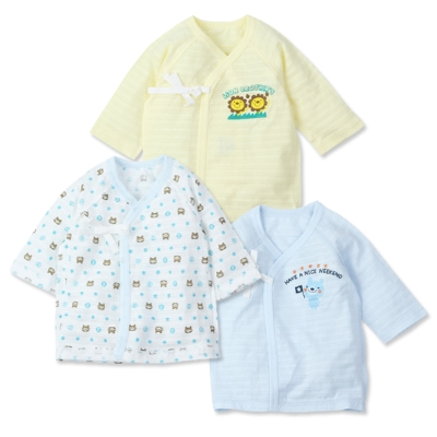 【兩件入】可愛動物新生兒綁帶短袖上衣 (共兩款)