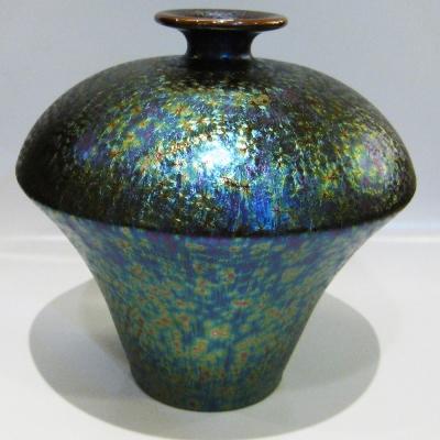 (香菇瓶)繽紛人生聚寶盆禮品~錳七彩結晶釉花瓶
