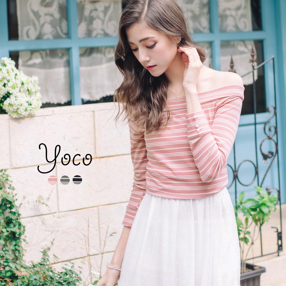 東京著衣-yoco 輕甜一字領條紋針織衫-S.M(共三色)