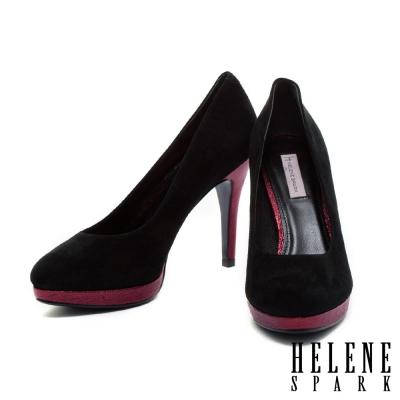 高跟鞋-HELENE-SPARK-時尚素面拼接羊麂皮高跟鞋-紅